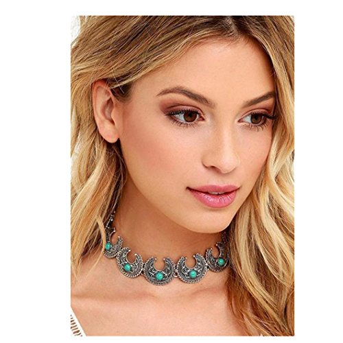 DZT1968 1PC Women Retro Bohemia Ox Horn Design Necklace Jewelry (Blue)