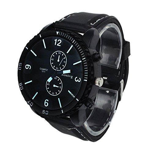 Towallmark(TM)Dynamic Analog Large Dial Sports Strap Quartz Wrist Watch (Black)