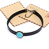 Yunhan Natural Turquoise and Flat Black Leather