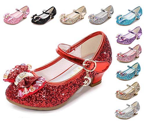 - Kinkie Kids Girls Mary Jane Flats Wedding Party Shoes Glitter Sequins Uniform School Ballerina Shoes Red 12.5 M US Little Kid