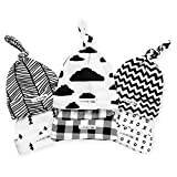 : BaeBae Goods Baby Beanie Set for Newborn Boys & Girls | 100% Adjustable Knot Hats | 6 Pack of Fitted Caps Black