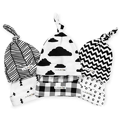 White Newborn Knot Cap - BaeBae Goods Baby Beanie Set for Newborn Boys & Girls | 100% Adjustable Knot Hats | 6 Pack of Fitted Caps Black