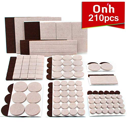 ON'H Furniture Pads 210pcs Felt Pads Feet Brown 105 + Beige 105 Various Sizes Protect Your Hard Floors from Scratches with 3M Tapes