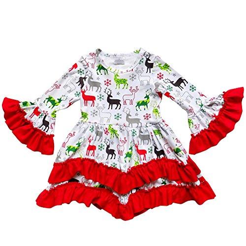 So Sydney Toddler Girls Boho Ruffle Crochet Lace Trim Flare Sleeve Dress (S (3T), Christmas Reindeer)