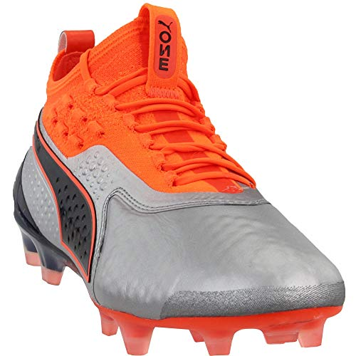 PUMA Mens One 1 Leather Firm Ground/Artificial Grass Soccer Casual Cleats, Silver, 7