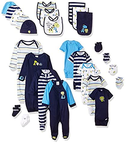Gerber Baby Boys' 26 Piece Essentials Gift Set, Safari, 0-3 Months - Gerber Toddler Bib