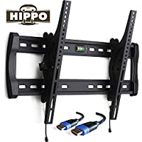 HIPPO HP8018 TV Wall Mount Bracket for Most 42- 70 LED LCD Plasma Flat Screen TVs weighing up to 132 Lbs, VESA up to 600x400 mm, ±10 Degree Tilt , Quick Release, Security Lock, 5 ft HDMI Cable