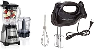 Hamilton Beach Power Elite Blender with 40oz Glass Jar 3-Cup Vegetable Chopper, Black and Stainless Steel (58149) & Beach 6-Speed Electric Hand Mixer with Snap-On Case, Beaters, Whisk, Black (62692)