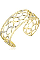 18k Yellow Gold Plated Sterling Silver Two-Tone Filigree Cuff Bracelet, 7.25""