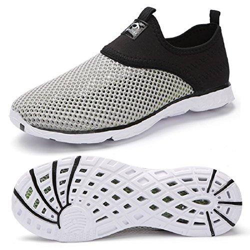 eyeones Men's Women's Lightweight Quick Drying Mesh Aqua Slip-on Water Shoes Perfect Match for Waterproof Phone Case Gray/Black-057cu