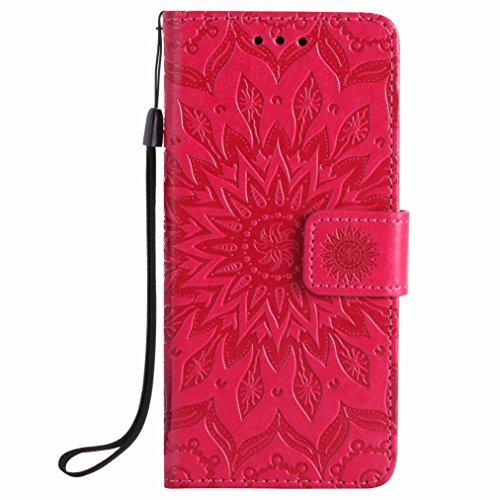 Yiizy Sony Xperia XA Custodia Cover, Sole Petali Design Sottile Flip Portafoglio PU Pelle Cuoio Copertura Shell Case Slot Schede Cavalletto Stile Libro Bumper Protettivo Borsa (Rosso)