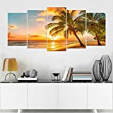 NAN-Wind-5-Pcs-Cozy-Seascape-Wall-Art-Sunset-Beach-Palm-Tree-Canvas-Art-Paintings-For-Room-Decor-Seascape-Ocean-Waves-Picture-Prints-On-Canvas-Modern-Giclee-Stretched-And-Framed-For-Home-Decor