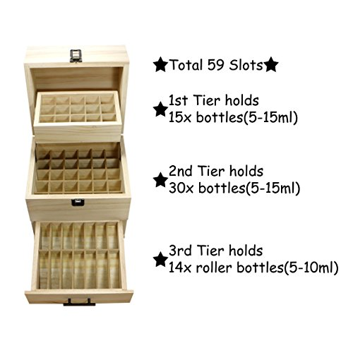 SXC Essential Oil Wooden Box Multi-Tray Organizer, 3 Tiers Storage Case Protects 45 5-15 mL Essential Oil Bottles and 14 10 mL Roller Bottles for Travel and Presentations by SXC (Image #1)