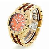 RedBrowm Men's Natural Wooden Wristwatch Wood Watch Quartz with Date + Box 2
