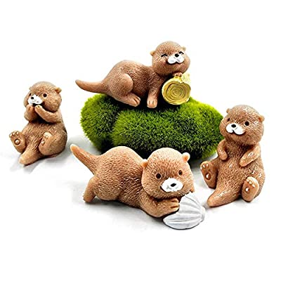 Kimkoala Miniature Otters Figurines, 4Pcs Cute Otters Family Figures Cartoon Animal Crafts for Fairy Garden Dollhouse Decoration Home Decor Cake Toppers Toys Gift for Children: Toys & Games