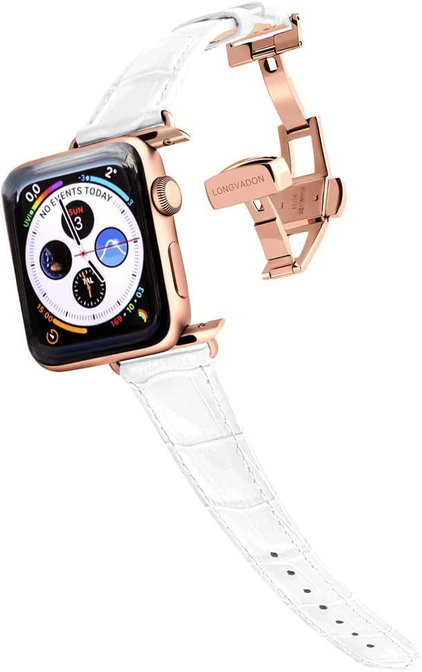 Longvadon Women's Caiman Series Watch Band - Compatible with Apple Watch 38MM (Series 1-3) & 40MM (Series 4-5) - Genuine Top Grain Leather - Snow White with Gold Details - XS Size