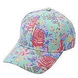 Perfumever Women Snapback Cap Summer Unisex Flower Cotton Baseball Cap Green