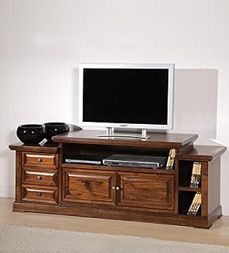 Porta TV in legno massello, noce, arte povera - cm 155X62 ...