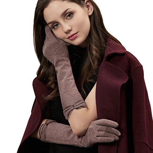 GSG Women's Elegant Ruffle Touchscreen Wool Knit Arm Warmer Elbow Gloves Mittens 3-finger Texting Long Evening Dress Gloves Winter Warm Gifts Brown by GSG
