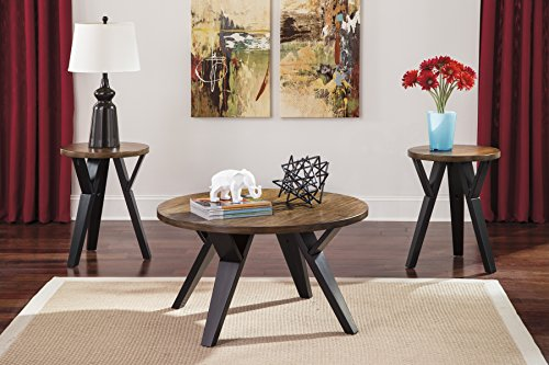 (Ingel Two-tone Brown Color Occasional Table Set, Cocktail Table And Two End Tables)