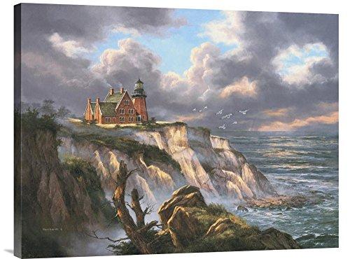 Global Gallery Budget Rudi Reichardt Block Island Lighthouse Gallery Wrap Giclee on Canvas Print Wall Art