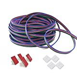 49.21ft LED RGB Extension Cable Wire-AUFY 4 Pin LED Strip Extend Copper Cord 15M for RGB SMD5050 3528 LED Tape Lights with Solderless Connectors Wire Holder