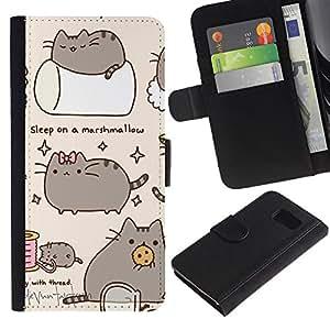 All Phone Most Case / Oferta Especial Cáscara Funda de cuero Monedero Cubierta de proteccion Caso / Wallet Case for Sony Xperia Z3 Compact // Pussy Cat Grey Sleep Marshmallow Play