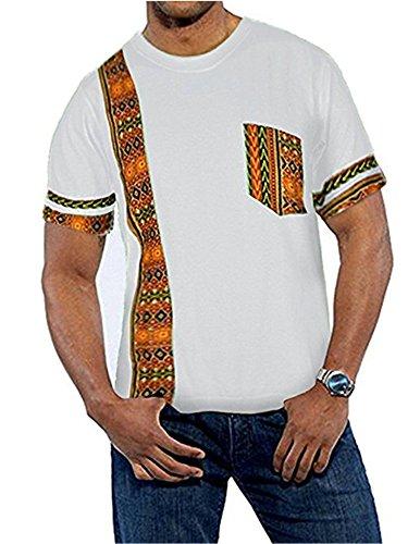 (Gtealife Men's African Print Dashiki T-Shirt Tops Blouse (Y-White, XXL))