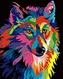 Paint by Numbers for Adults | DIY Art Kit with Acrylic Paints, Brushes, and Canvas for Abstract Animal Art. Painting and Crafts for Beginners and Kids 16x20 (Wolf)