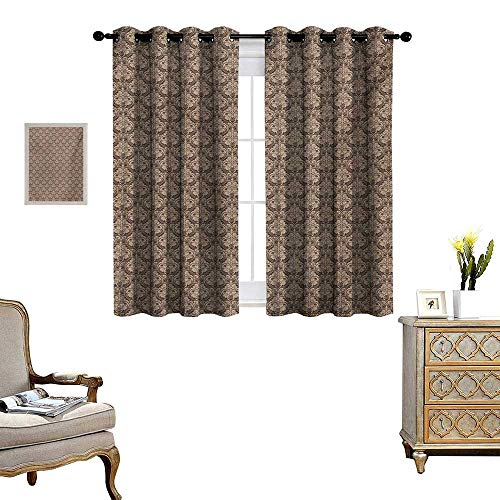 WinfreyDecor Antique Thermal Insulating Blackout Curtain Venetian Vintage Flowers with Swirling Lines Renaissance Revival Curvy Tile Patterned Drape for Glass Door W72 x L63 Brown and ()