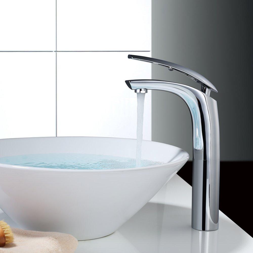 Rubinetto Bagno Lavabo, HOMELODY Rubinetto Bagno Elegante Miscelatore Lavabo Bagno Alto Monocomando per Lavabo e bagno
