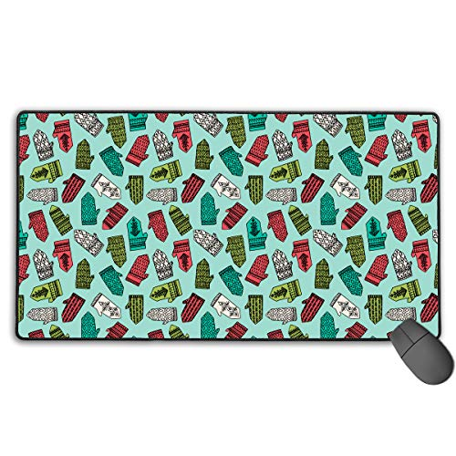 LNUO-2 Large Gaming Mouse Pad/Mat, Mittens Pale Turquoise Custom Mouse Pads with Non-Slip Rubber Base for Gaming Sensors, Durable Stitched Edges