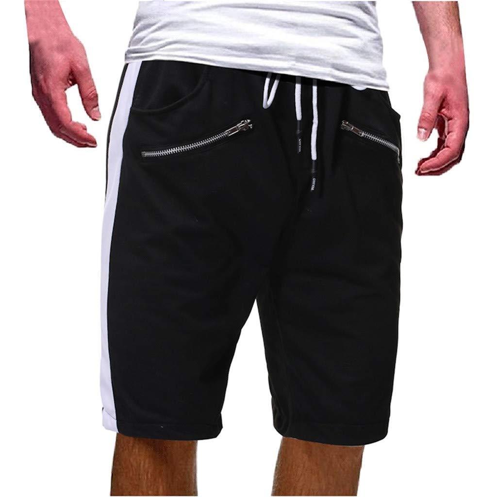 WANQUIY Mens Elastic Waist Drawstring Summer Workout Cotton Comfortable Shorts with Zipper Pockets