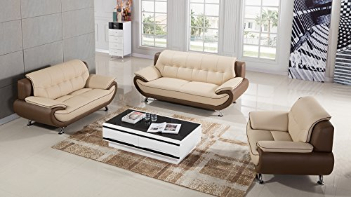 American Eagle Furniture Georgiana Collection Ultra Modern Living Room Leather Upholstered 3 Piece Sofa Set With Pillow Top Armrests and Tufting and Splayed Legs, Cream/Taupe (Couch Taupe Sofa Leather)