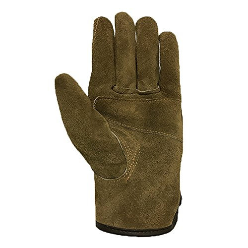 Genuine Leather Men's Welding Gloves Cut-proof Labor Gloves Thicken Extreme Heat Resistant Coffee Color Work Gloves Camping/Gardening Gloves DHST08 (XL) by QEES (Image #1)
