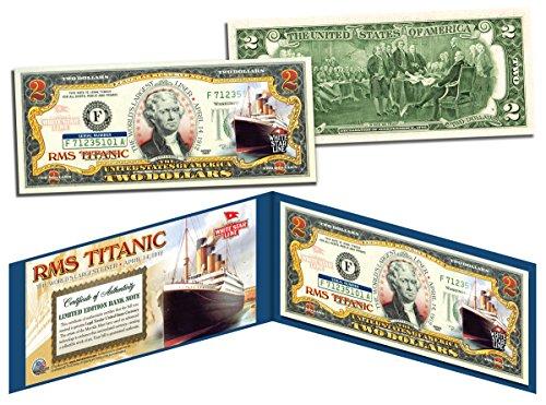 RMS TITANIC Ship * April 14, 1912 * Colorized U.S. $2 Bill Genuine Legal -