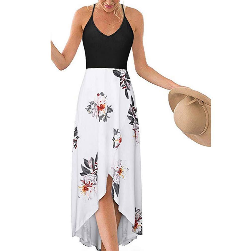 Sleeveless Dresses for Women丨Summer V Neck Asymmetrical Patchwork Floral Maxi Dress丨Womens Casual Loose Halter Dress(White,XL)
