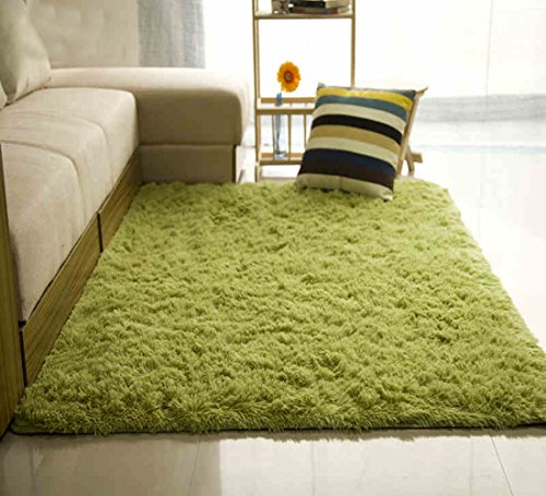 Yellow Gold Olive (ONEONEY Rectangular Shaggy Area Rugs and Carpet Super Soft Bedroom Carpet Rug for Kids)
