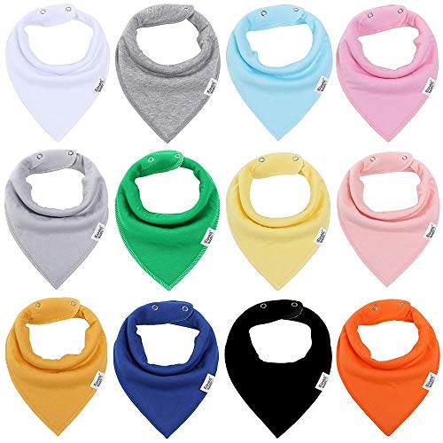Baby Bandana Drool Bibs for Boys and Girls,Super Soft Unisex 12 Pack Absorbent Cotton Organic Bib Set,Baby Shower Gift Set...
