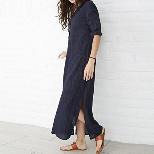 Occasionnel Dames Marine Robe Maxi o Coton Longueur Robe Cheville Baggy Lin Femmes Manches Robe Manches Splits Longues Botton Bellelove Lin Longues avec Solide Bouton Cou F0SIqzxw