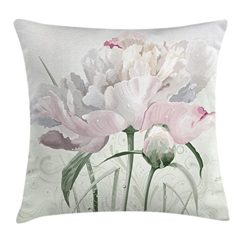 Pink Rose Bud Print - Ambesonne Flower Decor Throw Pillow Cushion Cover, Floral Pink Roses Tulips Abstract Leaves with Petals and Buds Detailed Print Image, Decorative Square Accent Pillow Case, 20 X 20 Inches, White