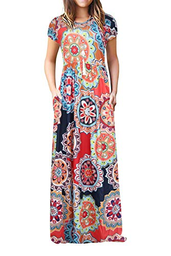 Women's Casual Summer Floral Short Sleeve Loose Plain Long Maxi Dress with Pockets
