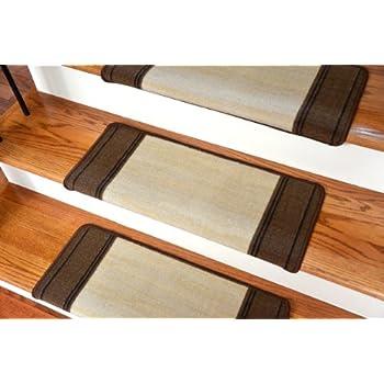 Dean Modern DIY Bullnose Wraparound Non Skid Carpet Stair Treads   Boxer  Beige