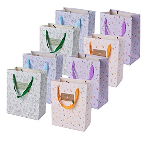 - TtoyouU 8pcs Kraft Paper Gift Bags,Small Flower Medium Gift Bags Girl's Birthday Wedding Party Favors Christmas Gift Bags