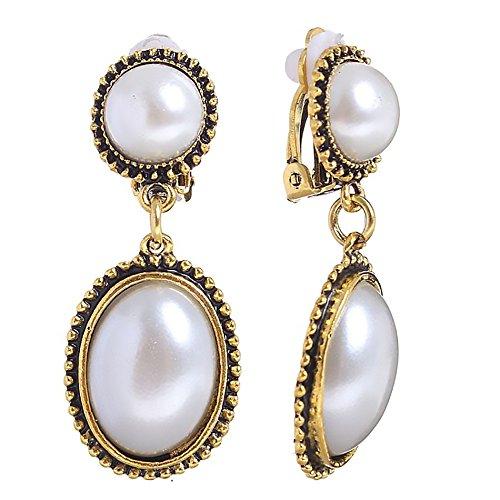 Bohemia Women Retro Ethnic Classic Gold tone Ear Clip-on Stud Drop Earrings Moonstone Niello Fashion Jewelry (Pearl/Bronze)
