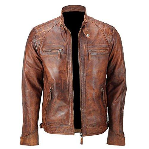 Classic Brando Diamond Vintage Café Racer Mens Waxed Distressed Brown Motorcycle Leather Jacket (Cafe Diamond Brown Diamond)