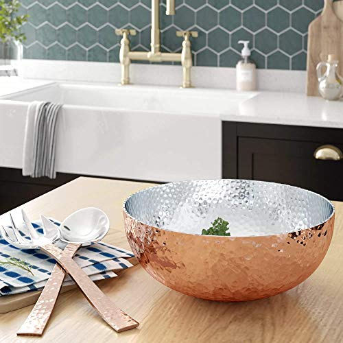 - Elegant Copper Hammered Salad Bowl with 2 Serving Utensils - Complete With Matching Oversized Spoon and Fork - Use as a Salad Bowl, Fruit Bowl or Even For Pasta - Beautiful and Stylish Serving Bowl