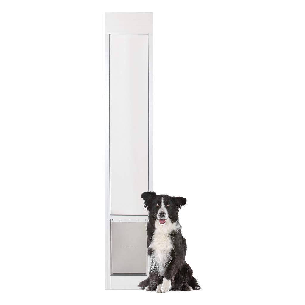 PetSafe Freedom Aluminum Patio Panel Sliding Glass Dog and Cat Door, Adjustable 76 13/16'' to 81-Inch, White, Large by PetSafe