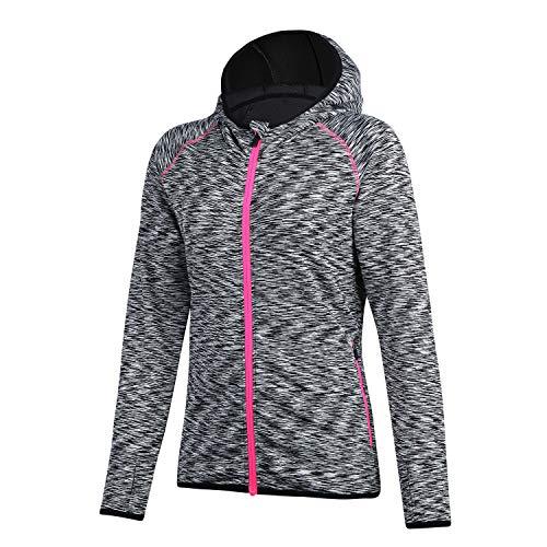 beroy Running Jackets Women Dri-fit Workout Jacket Zip Up Stretchy Active Raglan Jacket Coat(Black,M)