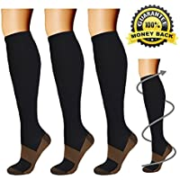 [Sponsored] Copper Compression Socks (3 Pairs), 15-20 mmhg is BEST Athletic & Medical for Men & Women, Running, Flight, Travel, Nurses - Boost Performance, Blood Circulation & Recovery